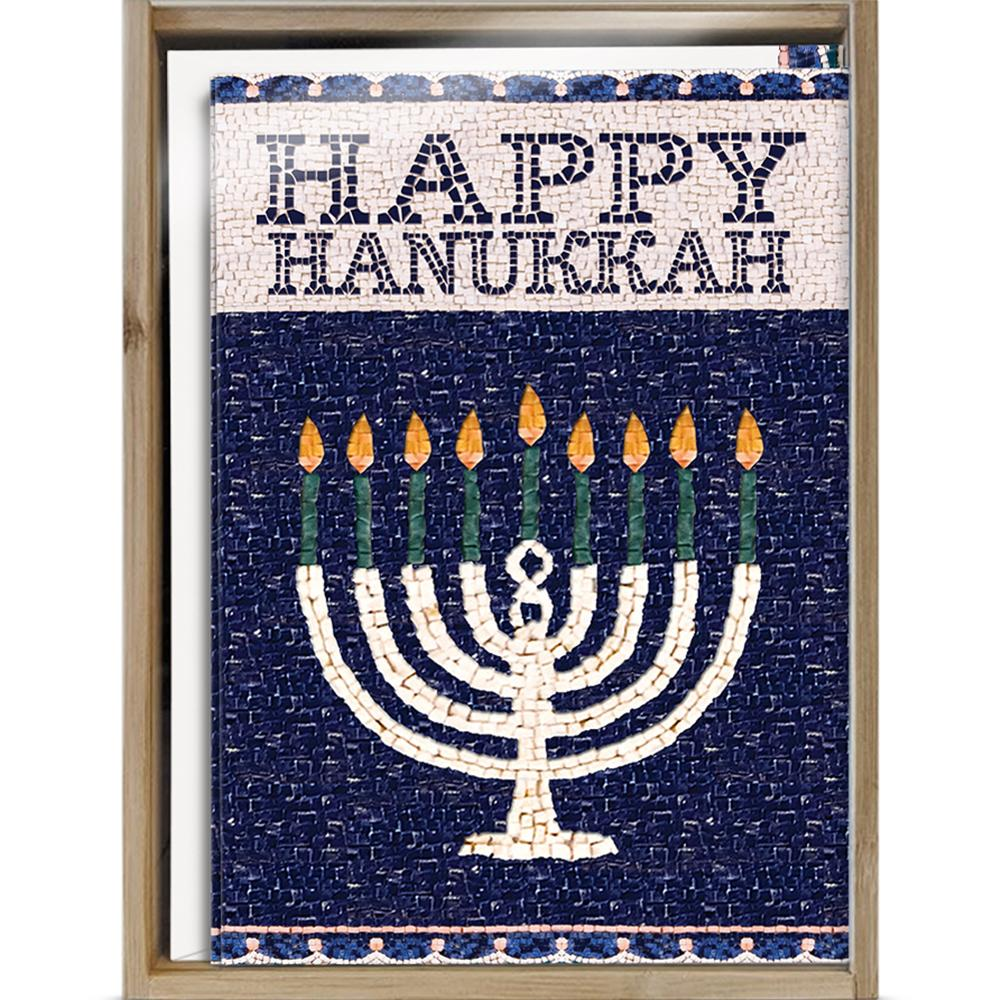 Jerusalem Mosaic Menorah Bamboo Box 16 ct Hanukkah Greeting Card Set