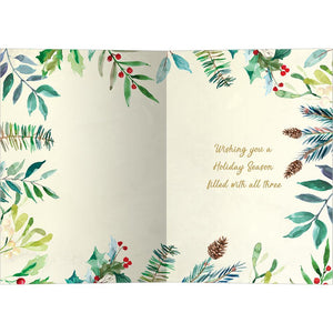 Peace Joy Watercolor Bamboo Box 16 ct Holiday Greeting Card Set
