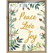 Load image into Gallery viewer, Peace Joy Watercolor Bamboo Box 16 ct Holiday Greeting Card Set