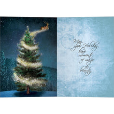 Load image into Gallery viewer, Magical Reindeer Bamboo Box 16 ct Holiday Greeting Card Set