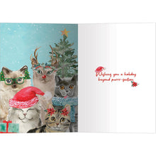 Load image into Gallery viewer, Cat Selfie Watercolor Bamboo Box 16 ct Holiday Greeting Card Set
