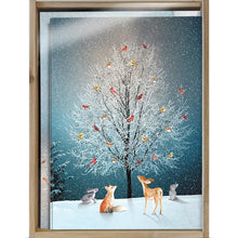 Load image into Gallery viewer, Bird Tree Bamboo Box 16 ct Holiday Greeting Card Set
