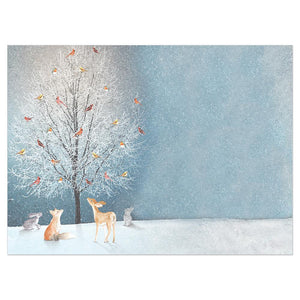 Bird Tree Bamboo Box 16 ct Holiday Greeting Card Set