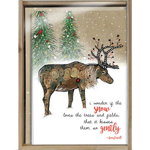 Snow Kissed Reindeer Bamboo Box 16 ct Holiday Greeting Card Set