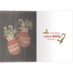 Load image into Gallery viewer, Holiday Mittens Bamboo Box 16 ct Holiday Greeting Card Set