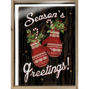 Holiday Mittens Bamboo Box 16 ct Holiday Greeting Card Set