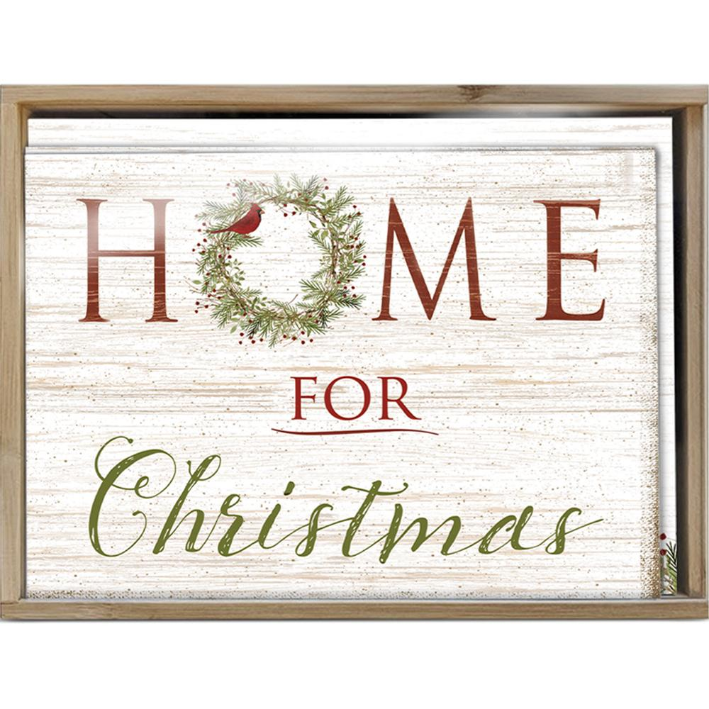 Home Christmas Bamboo Box 16 ct Holiday Greeting Card Set