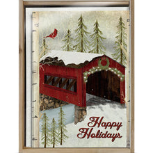 Load image into Gallery viewer, Snowy Covered Bridge Bamboo Box 16 ct Holiday Greeting Card Set