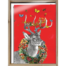 Load image into Gallery viewer, Boho Deer Christmas Bamboo Box 16 ct Holiday Greeting Card Set