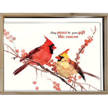 Load image into Gallery viewer, Peace Birds Bamboo Box 16 ct Holiday Greeting Card Set