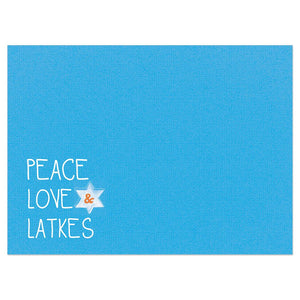 Peace Love And Latkes Bamboo Box 16 ct Hanukkah Greeting Card Set