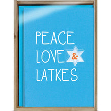Load image into Gallery viewer, Peace Love And Latkes Bamboo Box 16 ct Hanukkah Greeting Card Set