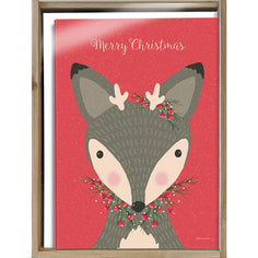 Load image into Gallery viewer, Deer Christmas Bamboo Box 16 ct Christmas Greeting Card Set