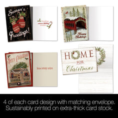 Load image into Gallery viewer, The Cozy Cabin Bamboo Box 16 ct Holiday Greeting Card Assortment