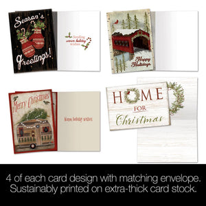 The Cozy Cabin Bamboo Box 16 ct Holiday Greeting Card Assortment