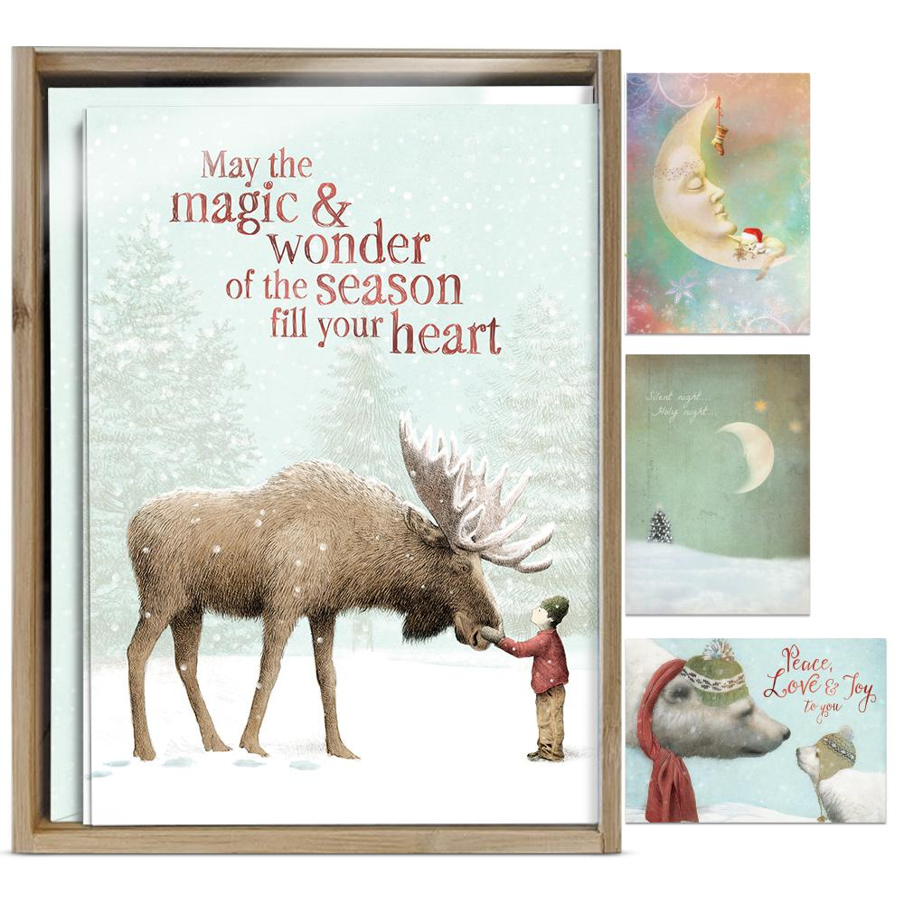 Dreams & Wishes Bamboo Box 16 ct Holiday Greeting Card Assortment