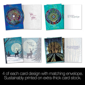 Winter Solstice Bamboo Box 16 ct Solstice Greeting Card Assortment