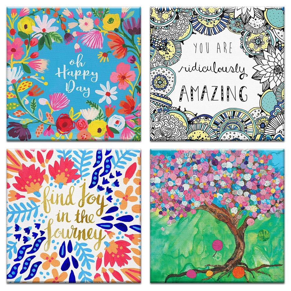 Vibrant Birthday Canvas Card Assorted 4 Pack