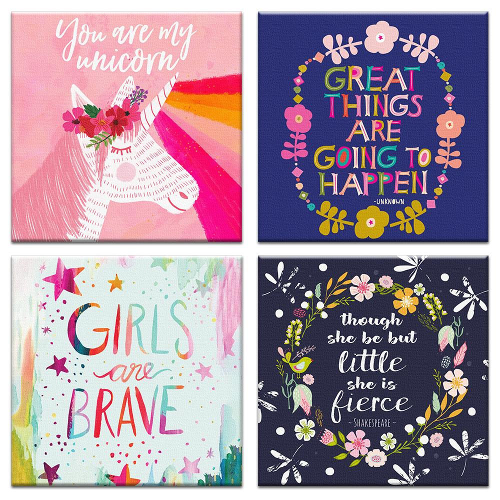 Girls Rule All Occasion Canvas Card Assorted 4 Pack