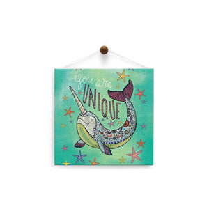 Unique Narwhal  Birthday Thumb-Tack Canvas Art Card 4 pack