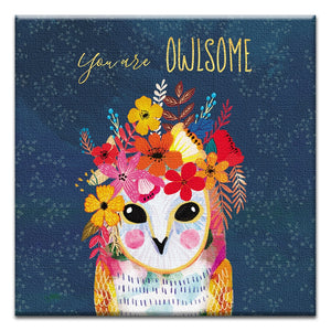 You Are Owlsome  Friendship Thumbtack Canvas Art Card 4 pack