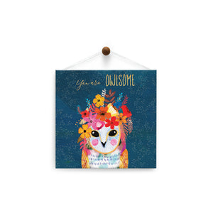 You Are Owlsome  Friendship Thumb-Tack Canvas Art Card 4 pack