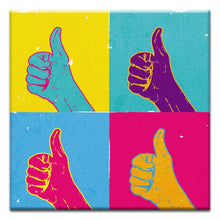 Load image into Gallery viewer, Thumbs Up  Congratulations Thumbtack Canvas Art Card 4 pack