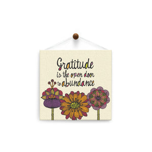 Gratitude Is The Open Door  Thank You Thumb-Tack Canvas Art Card