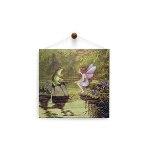Fairy and Frog  Friendship Thumb-Tack Canvas Art Card