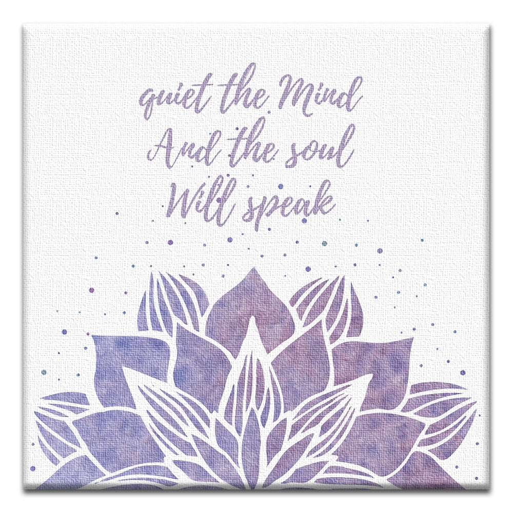 Quiet The Mind  All Occasion Thumbtack Canvas Art Card 4 pack