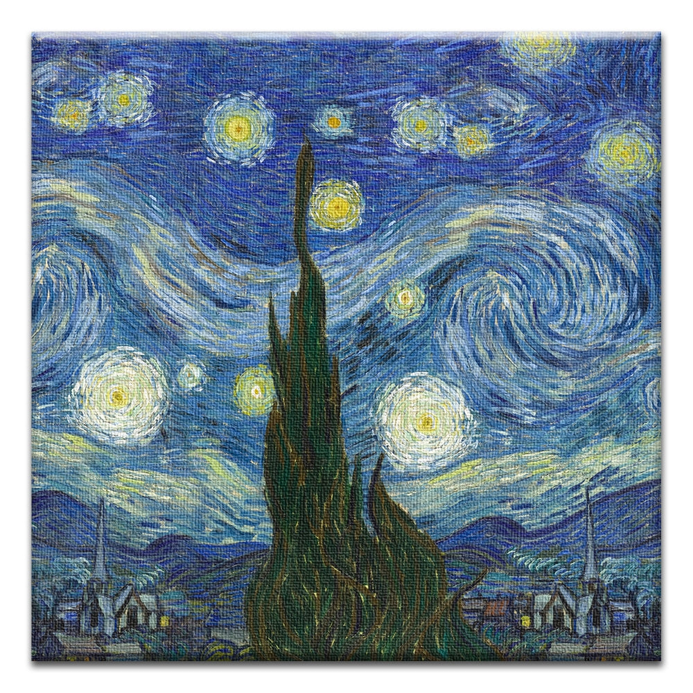 Van Gogh Starry Night  All Occasion Thumbtack Canvas Art Card 4 pack