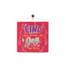 Load image into Gallery viewer, What Brings You Joy  Encouragement Thumb-Tack Canvas Art Card