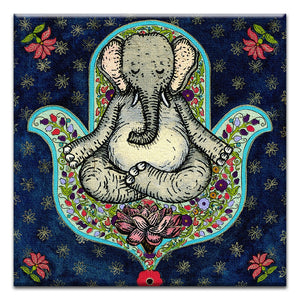 Meditating Elephant  Thinking of You Thumbtack Canvas Art Card 4 pack