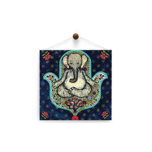 Meditating Elephant  Thinking of You Thumb-Tack Canvas Art Card 4 pack