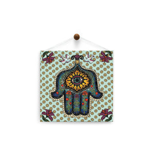 In Safe Hands Hamsa  All Occasion Thumb-Tack Canvas Art Card