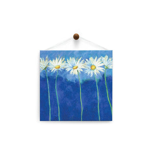 Daisies on Blue  All Occasion Thumb-Tack Canvas Art Card