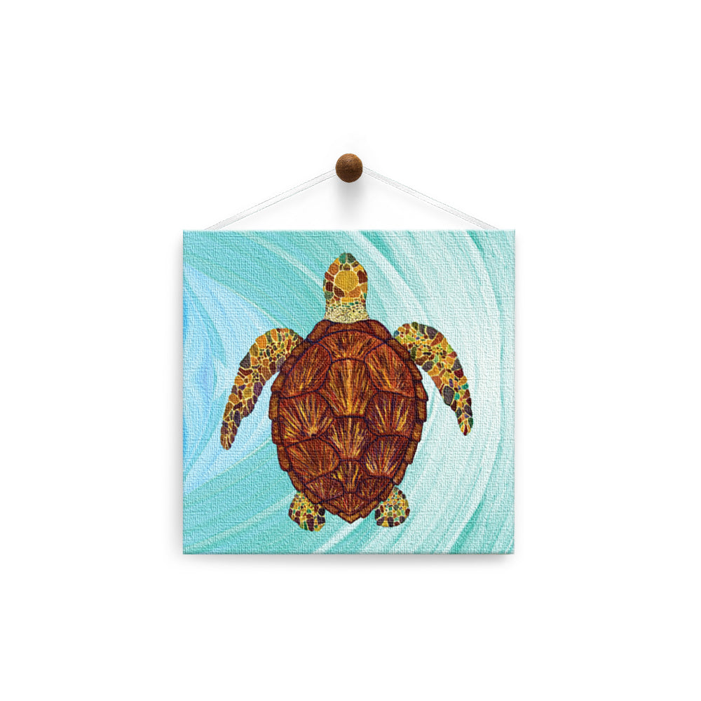 Sea Turtle Mosaic  All Occasion Thumb-Tack Canvas Art Card