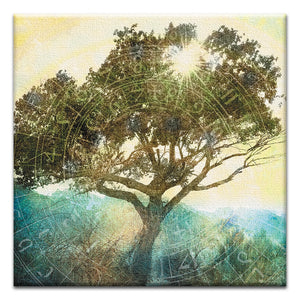 Tree of Time  All Occasion Thumbtack Canvas Art Card 4 pack