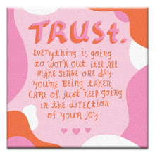 Load image into Gallery viewer, Trust Joy Support Thumb-Tack Canvas Art Card