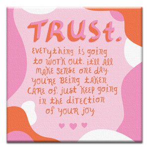Trust Joy Support Thumbtack Canvas Art Card 4 pack