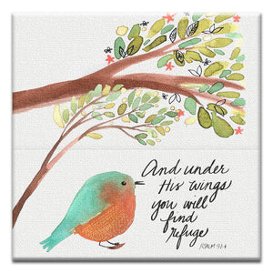 Under His Wings Thumb-Tack Canvas Art Card 4 pack