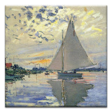 Load image into Gallery viewer, Monet Sailboat Thumb-Tack Canvas Art Card 4 pack
