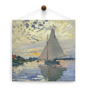 Monet Sailboat Thumb-Tack Canvas Art Card 4 pack