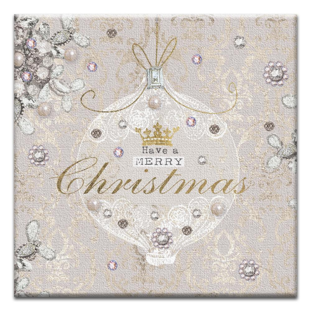Christmas Elegance Thumb-Tack Canvas Art Card 4 pack