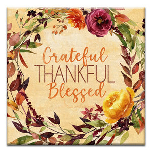 Grateful Blessed Thumb-Tack Canvas Art Card