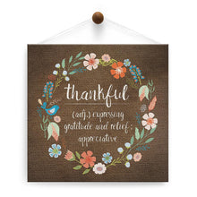 Load image into Gallery viewer, Thankful Wreath Thumb-Tack Canvas Art Card