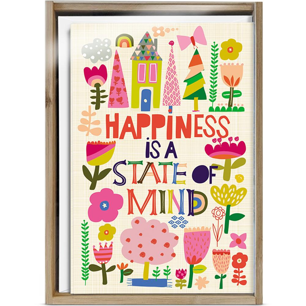 Happiness Collage All Occasion 4x6 Bamboo Box Notecard Sets