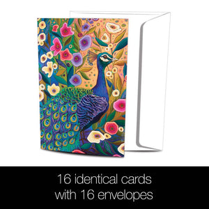 Peacock with Florals All Occasion 4x6 Bamboo Box Notecard Sets