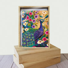Load image into Gallery viewer, Peacock with Florals All Occasion 4x6 Bamboo Box Notecard Sets