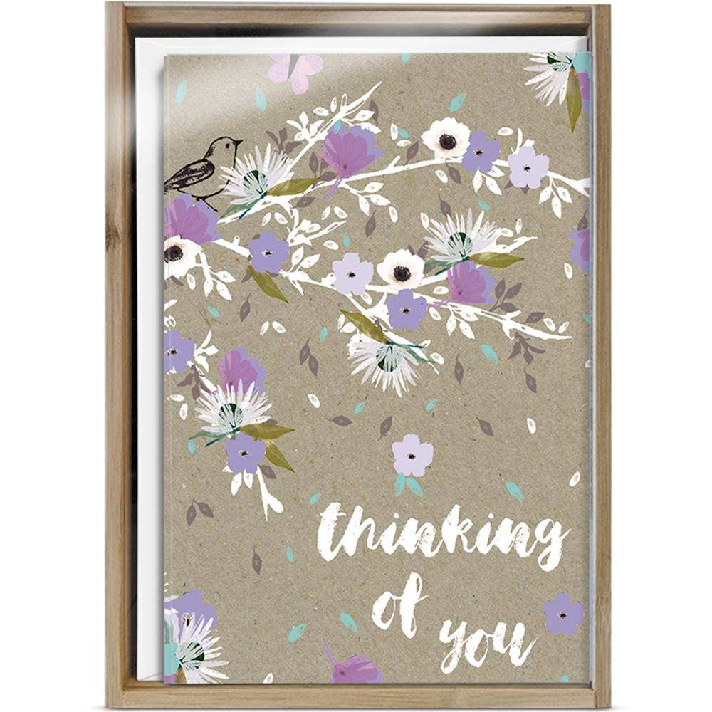 Thoughts And Flowers All Occasion 4x6 Bamboo Box Notecard Sets